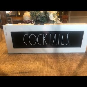 """New RAE DUNN """"COCKTAILS."""" Wood Sign"""